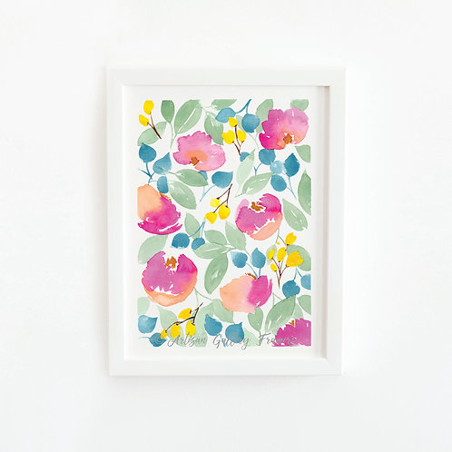 Watercolor #1: Bright Pink Abstract Florals