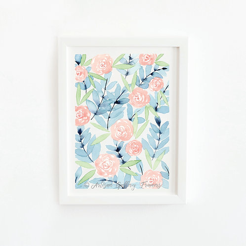 Watercolor #3: Soft Blue and Pink Abstract Florals