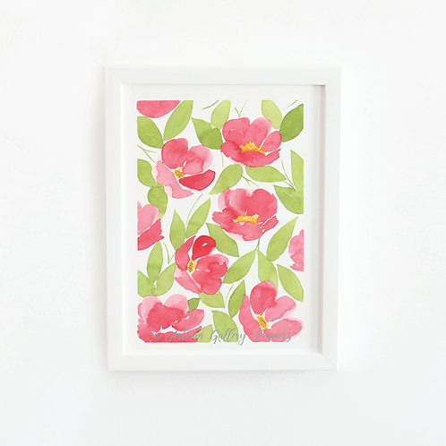 Watercolor #12: Bright Red Abstract Florals