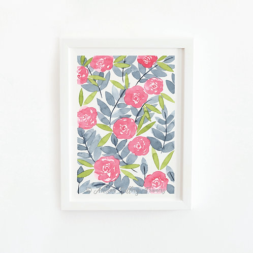 Watercolor #10: Pink and Blue Abstract Florals