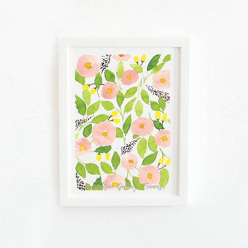 Watercolor #7: Bright Pink and Green Abstract Florals