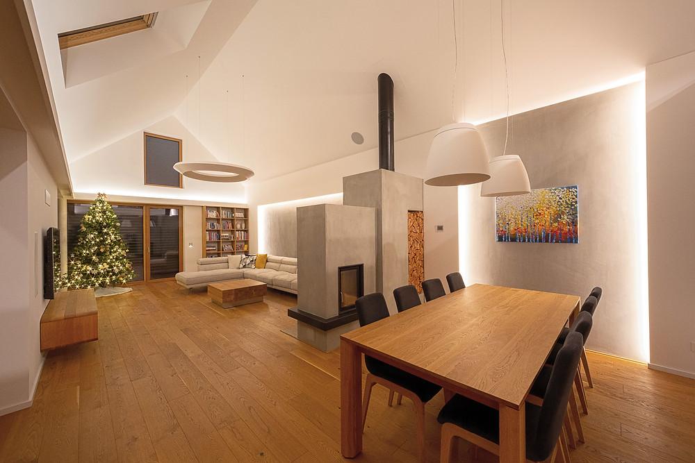osvetlenie obývačky LED rímsa svetelné stropy
