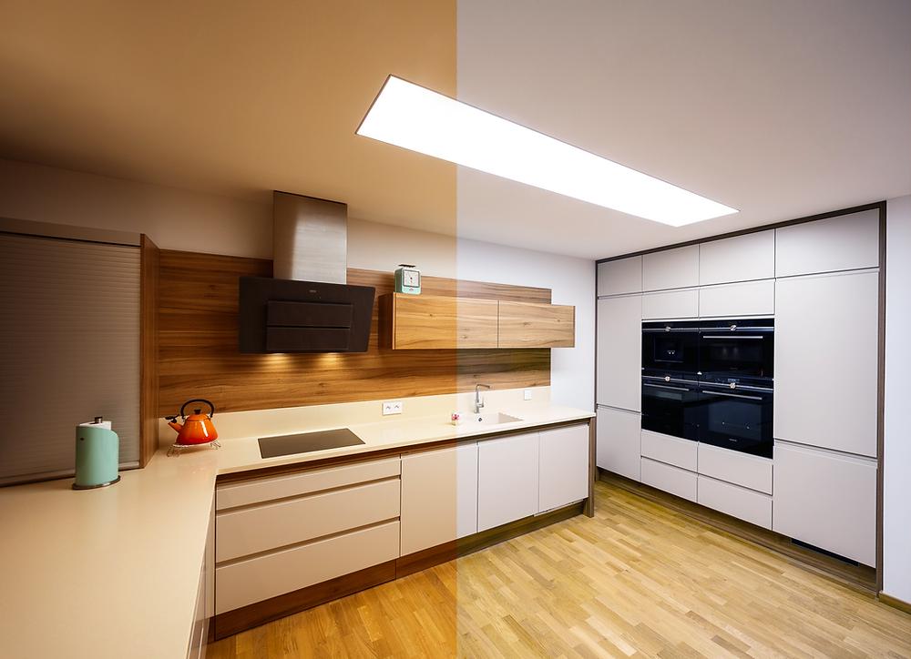 osvetlenie kuchyne zápustné svietidlo LED svetelné stropy