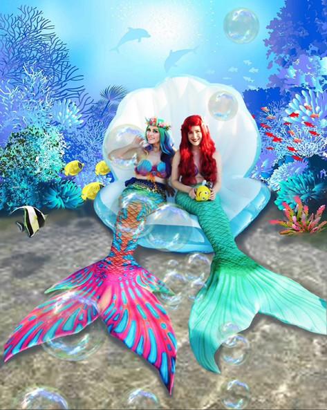 Rainbow mermaid Enfys and the Little Mermaid