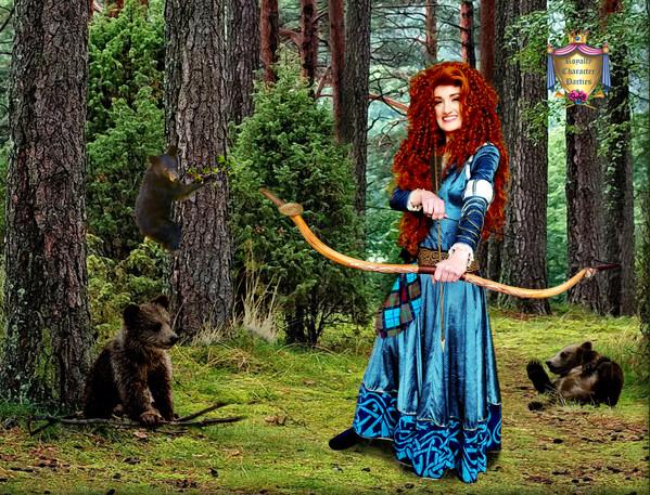 #1c Merida in Forest w 3 BLACK bear cubs