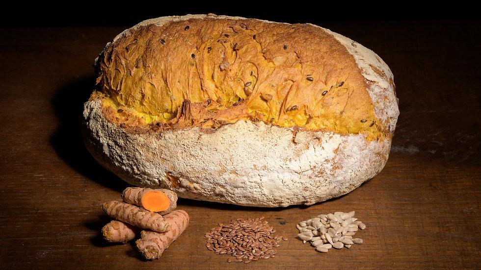 Pane Curcuma con Semi di Lino e Girasole