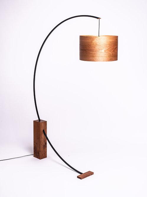 Cherry wood floor lamp