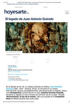 El legado de Juan Antonio Guirado, Hoy es Arte, 22 October, 2015