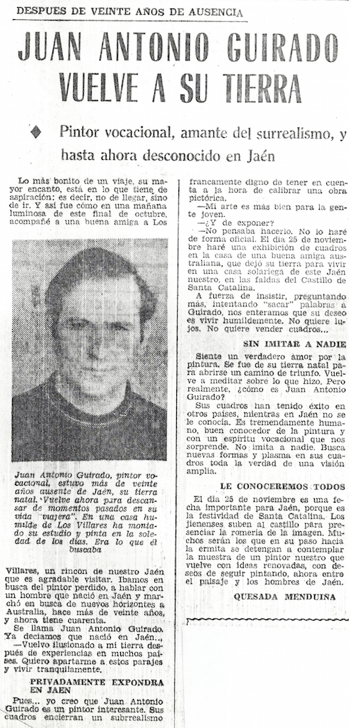 25/11/1972 Guirado returns to Jaén
