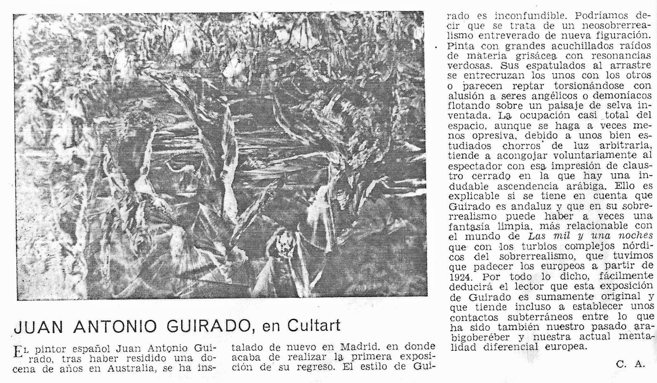 Guirado exhibition Cult Art 1970