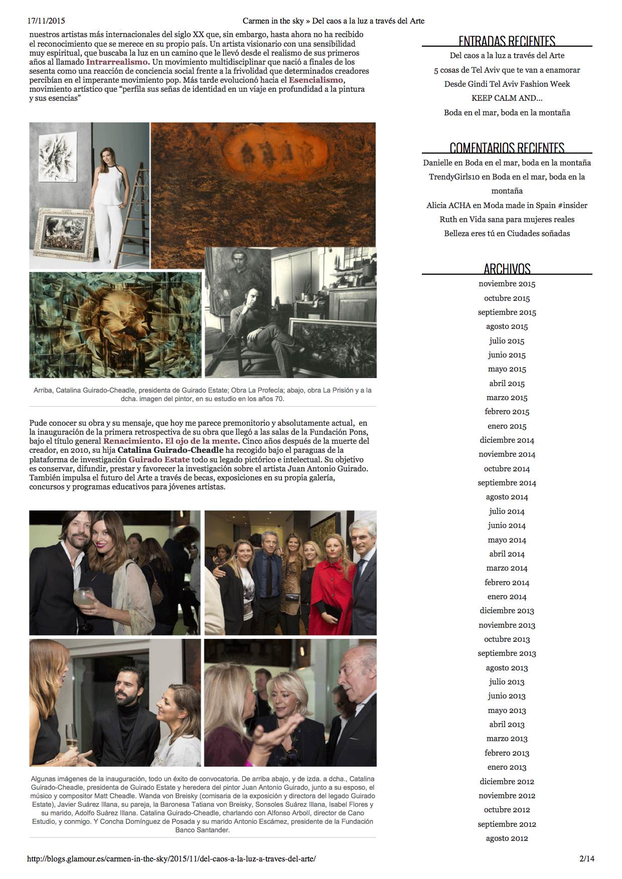 Del caos a la luz a traves del arte, Glamour, by Carmen Garijo, 14 November, 2015