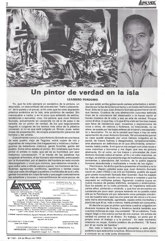 Un pintor de verdad en la isla, Lancelot No.159, by Leandro Perdomo, 24 May 1986