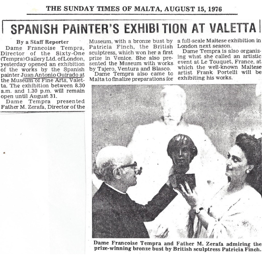Spanish Painter's Exhibition at Valetta, Museum of Fine Arts Malta, The Sunday Times of Malta, by St