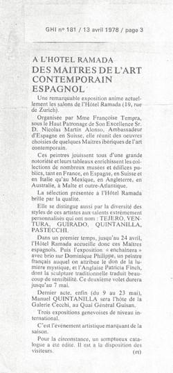 Exhibition Geneva 13/4/1978