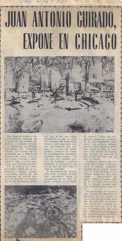 Juan Antonio Guirado, expone en Chicago, 11 June, 1976