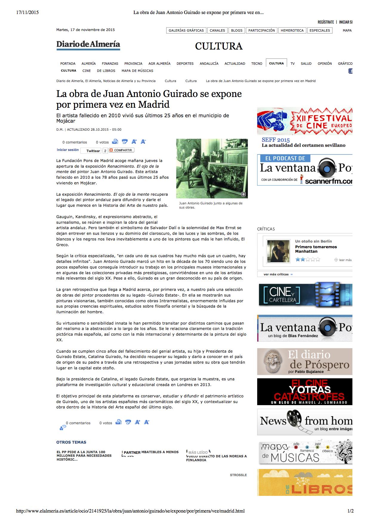 La obra de Juan Antonio Guirado se expone por primera vez en Madrid, Diario de Almeria, by D.M, 28 O