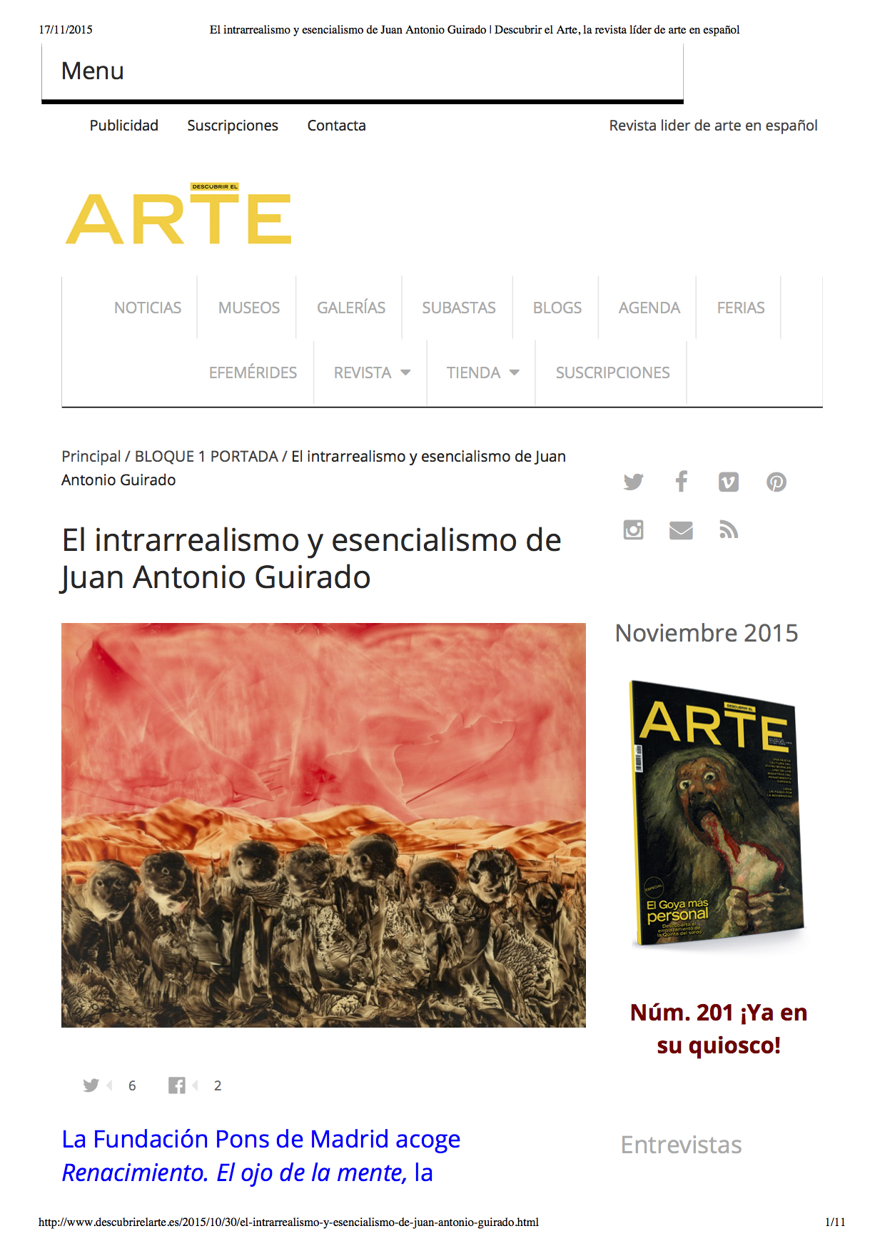 El intrarrealismo y esencialismo de Juan Antonio Guirado, Descubrir el Arte, 30 October, 2015