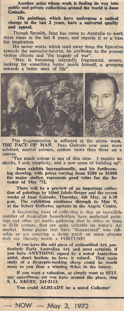 Exhibition at the Sebert Galleries in the Argyle Centre, Australia, Now, 3 May, 1972