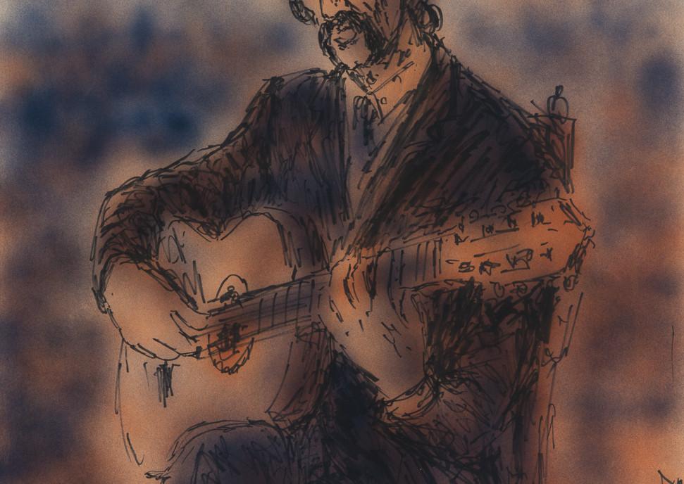 Retrato en la cercania- El Guitarista, 1981 spray-paint and felt tip pen on paper
