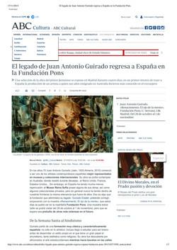 El legado de Juan Antonio Guirado regresa a Espana en la Fundacion Pons, ABC, by Manuel Muniz, 2