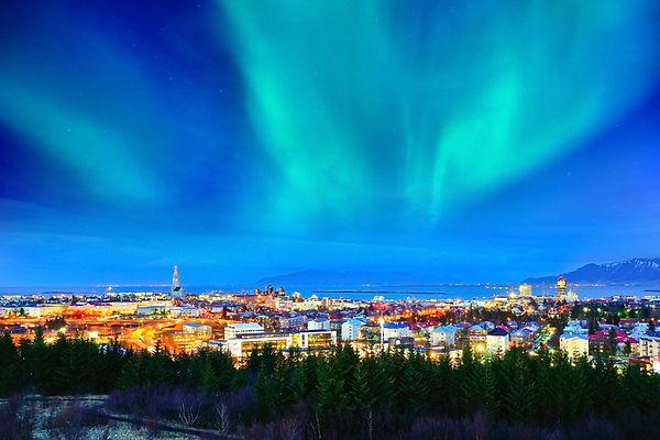 The northern lights over Reykjavik