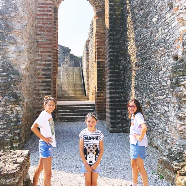 Our girls exploring the roman ruins near Lake Garda, Italia