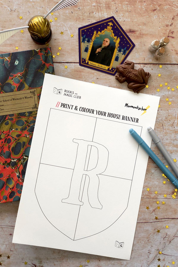 Print out a copy of our Hogwarts House Banner templates to decorate for your celebration!