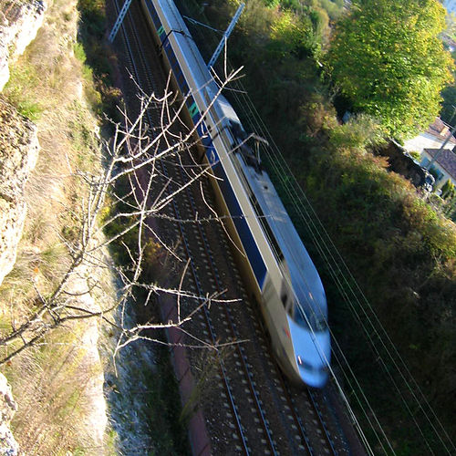 A TGV train running at top speed