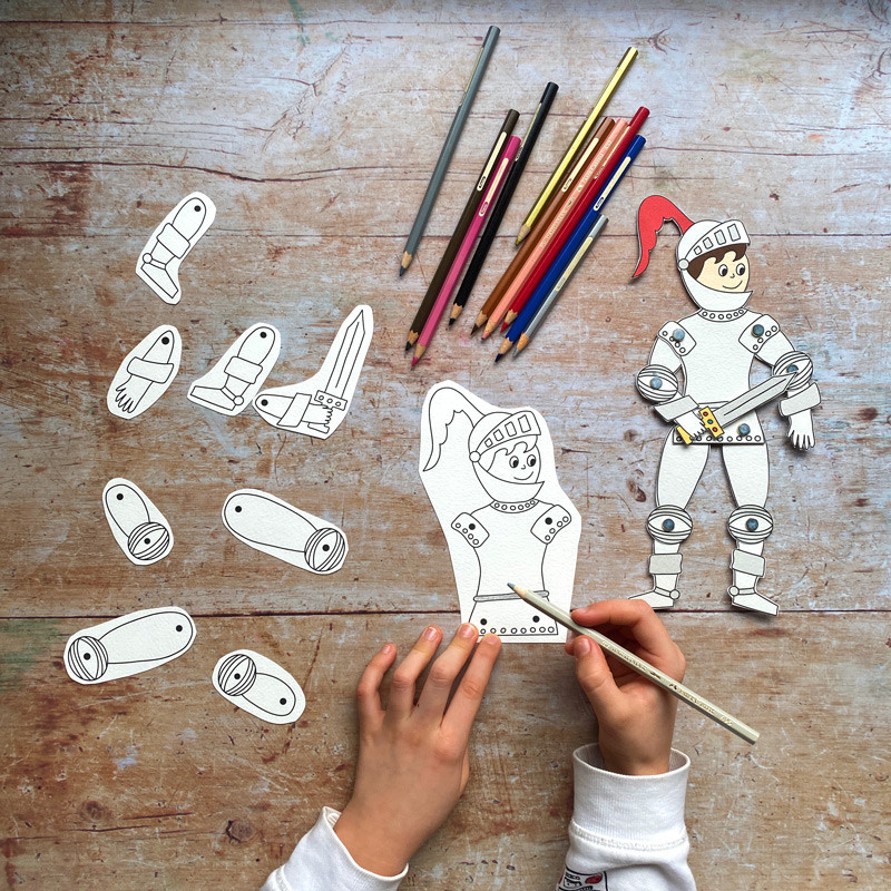 Make an articulated knight inspired by medieval England!