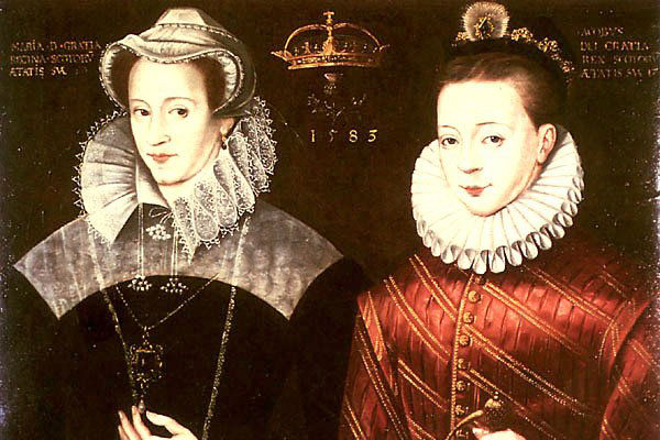 James VI (right) depicted beside his mother Mary Queen of Scots