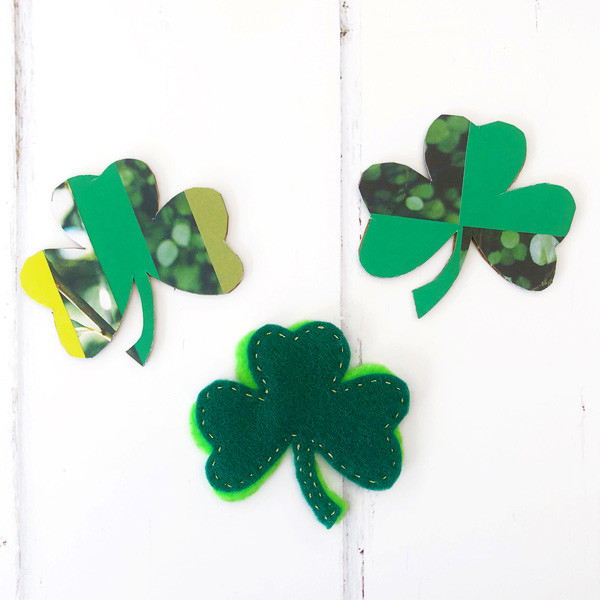 Make a cardboard shamrock pin inspired by Ireland's national symbol!