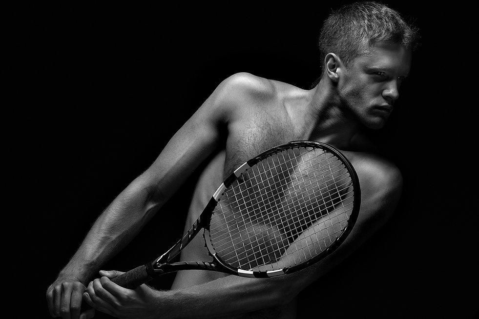 Sporting Goods, Tennis Racquet, Man