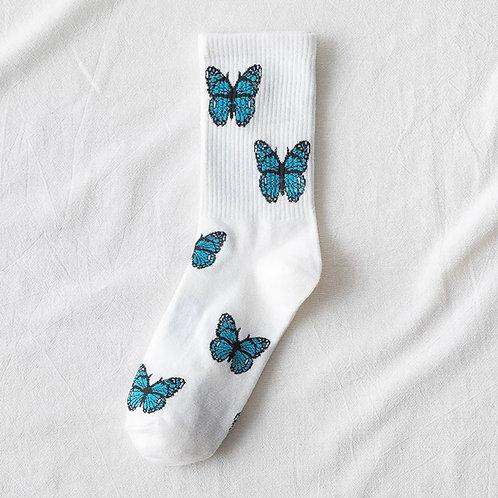 Blue Butterfly Socks