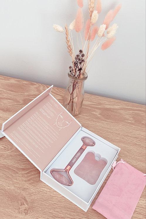 Rose Quartz Gua Sha & Facial Roller Tool Kit