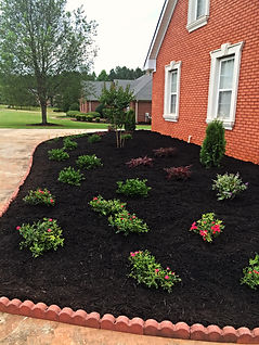 Bed at front of house with mulch and newly-planted flowers.