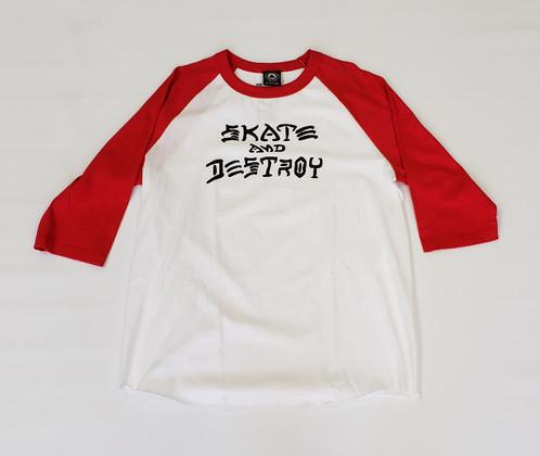 f9e7210c930c Thrasher Skate & Destroy 3/4 Sleeve X-Large T-Shirt - White/Red/Black