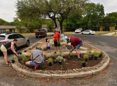 Neighborhood Volunteers Create Pocket park from Eyesore in Fairfield near Starcrest and Loop 410