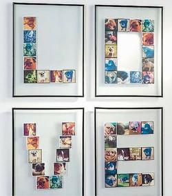collage in lettere con cornice