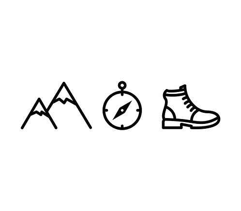 Berg, Kompass & Wanderschuh