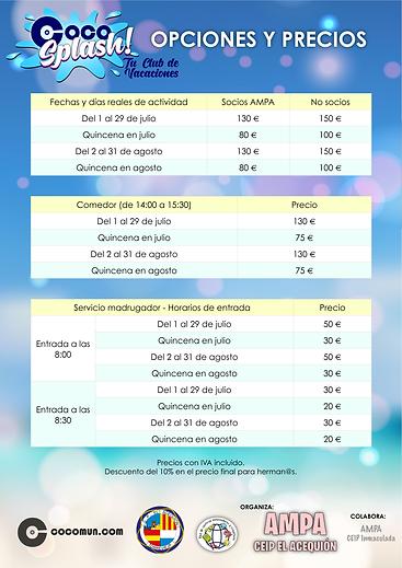 PRECIOS ACEQUIÓN Coco Splash 2021