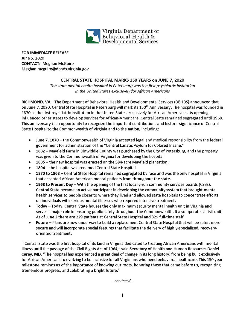DBHDS Press Release - Central State 150t
