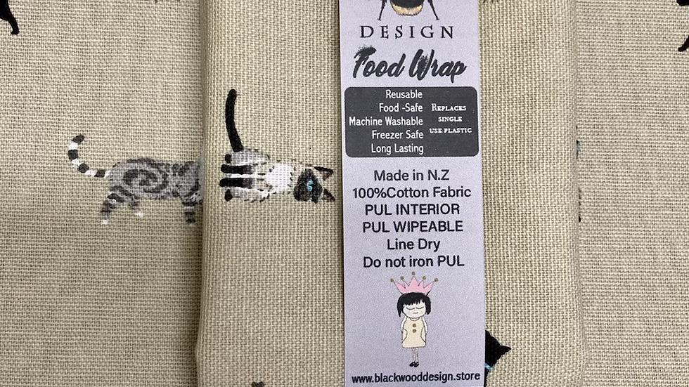 Reusable, machine washable Food Wraps - Cats