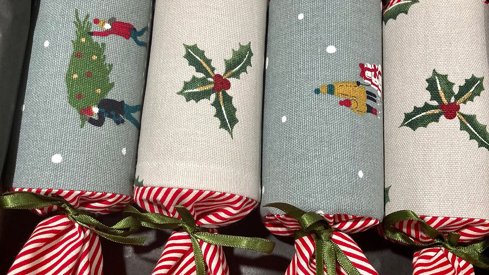 Box of Four - Reusable Fabric Crackers, Mid Winter Xmas and Holly