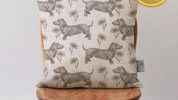 Dog and Daisy Cushion on Oatmeal