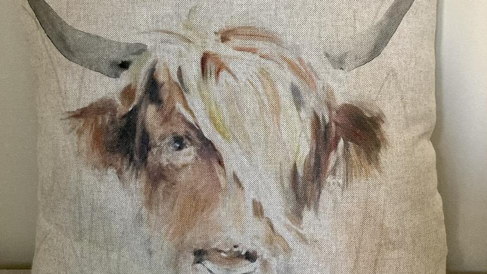Highland Cow Watercolour Cushion