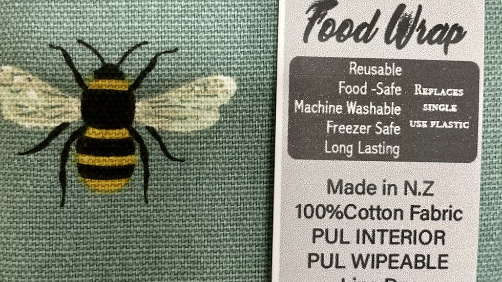 Reusable, machine washable Food Wraps - Teal Bees