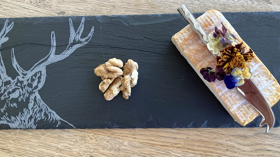 Mini Etched Stag Cheese Board and Cheese Knife
