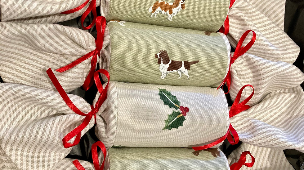 Box of Four - Reusable Fabric Crackers, Spaniels and Holly