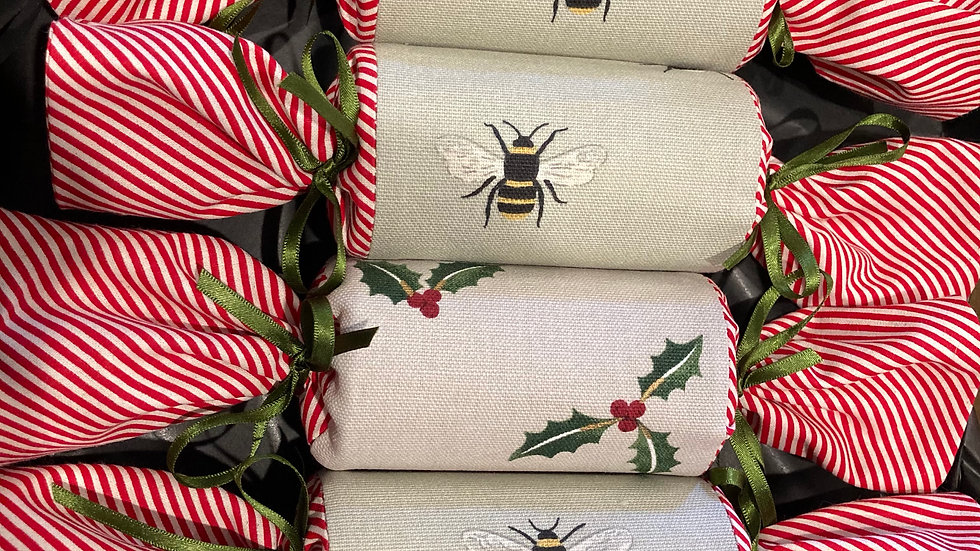 Box of Four - Reusable Fabric Crackers, Bees and Holly