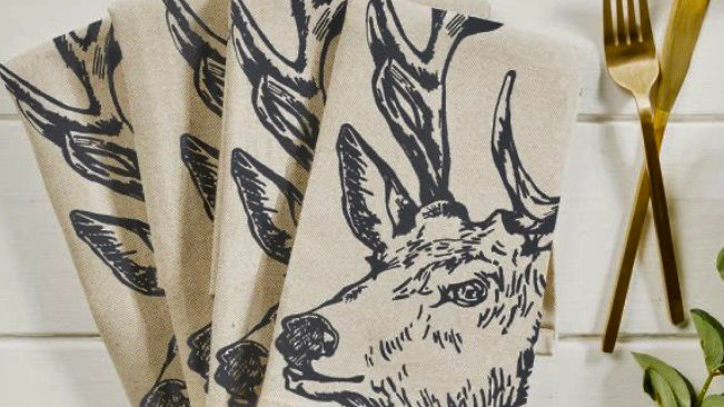Stag Linen Napkins - Set of Four